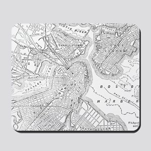 Vintage Map of Boston (1878) Mousepad